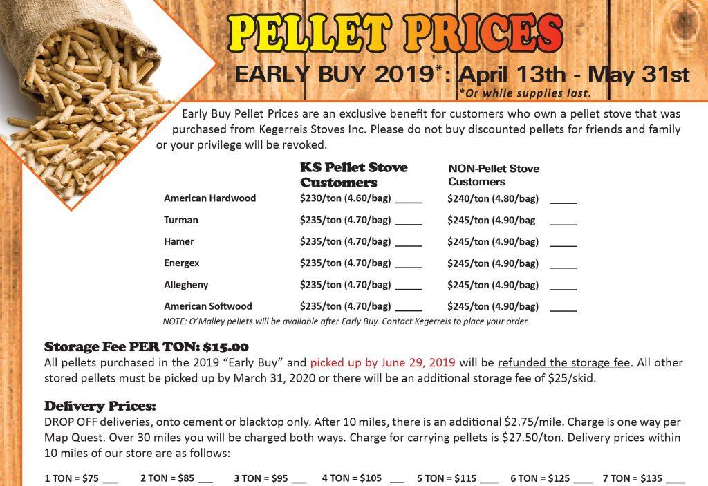 Kegerreis Stoves Early Buy Pellet Pricing 2019