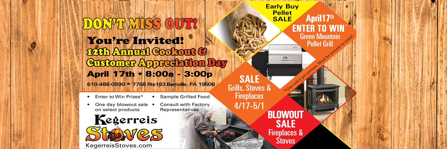 Kegerreis Stoves Customer Appreciation Sale April 17, 2021